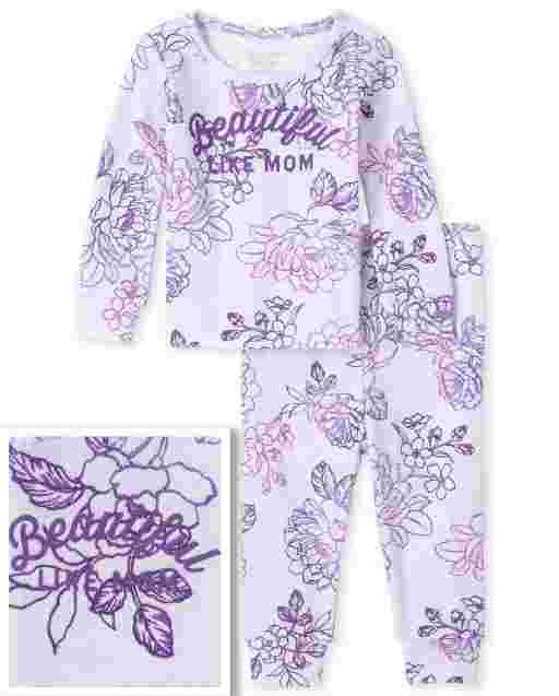 Baby And Toddler Girls Mommy And Me Long Sleeve 'Beautiful Like Mom' Floral Print Matching Snug Fit Cotton Pajamas