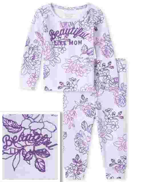Bebé y niñas pequeñas Mamá y yo de manga larga ' Hermosa como mamá ' Pijamas de algodón ajustados a juego con estampado floral