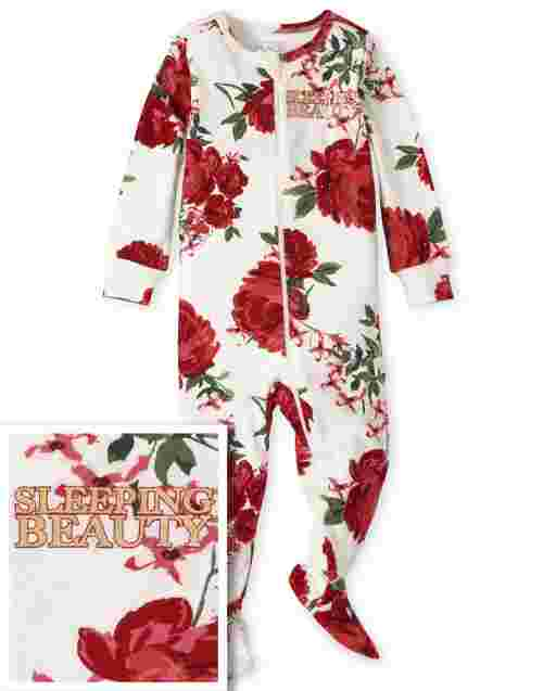 Baby And Toddler Girls Mommy And Me Long Sleeve Foil 'Sleeping Beauty' Floral Print Matching Snug Fit Cotton One Piece Pajamas