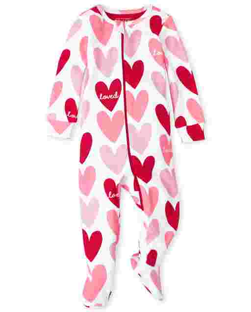 Baby And Toddler Girls Valentine's Day Long Sleeve Heart Print Snug Fit Cotton One Piece Pajamas