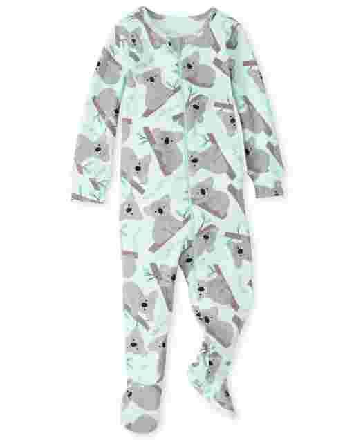 Baby And Toddler Girls Long Sleeve Koala Print Snug Fit Cotton One Piece Pajamas
