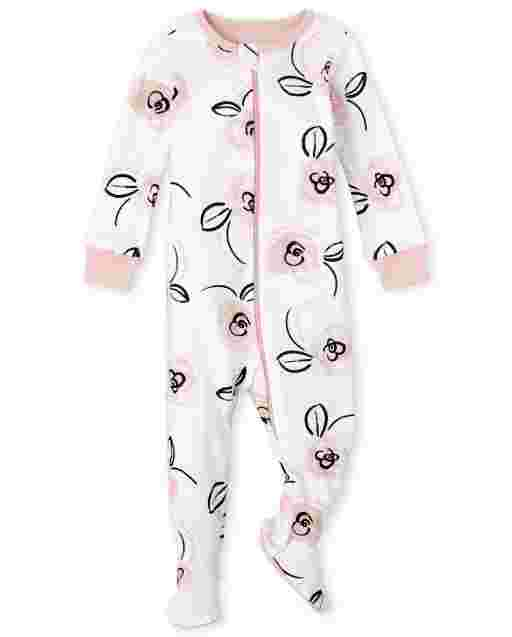 Baby And Toddler Girls Long Sleeve 'Love You Dad' And 'Love You Mom' Floral Print Snug Fit Cotton One Piece Pajamas