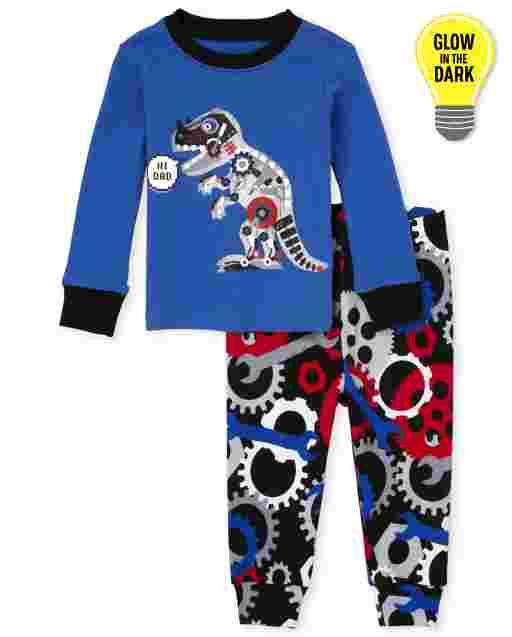 Pijama de algodón con ajuste ceñido de Dino Robot de manga larga que brilla en la oscuridad para bebés y niños pequeños