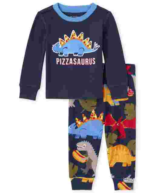 Pijamas de algodón de manga larga para bebés y niños pequeños ' Pizzasaurus ' Dino