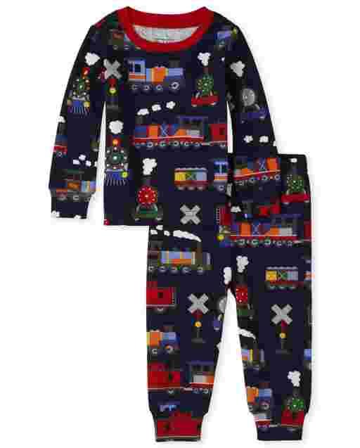 Pijama de algodón con estampado de trenes de manga larga para bebés y niños pequeños