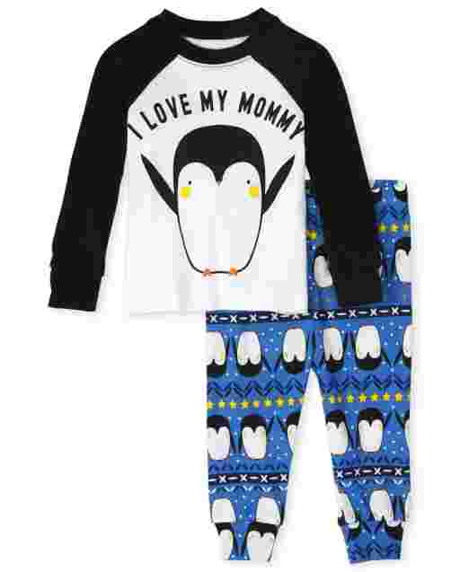 Baby And Toddler Boys Long Sleeve 'I Love My Mommy' Penguin Snug Fit Cotton Pajamas