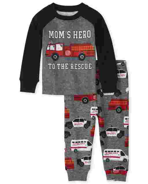 Baby And Toddler Boys Long Sleeve 'Mom's Hero To The Rescue' Snug Fit Cotton Pajamas