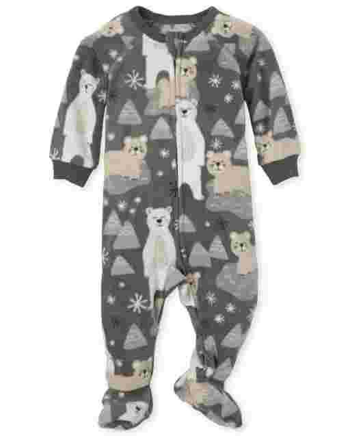 Baby And Toddler Boys Long Sleeve Polar Bear Print Fleece Footed One Piece Pajamas