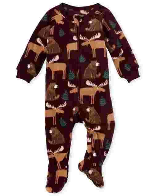 Pijamas de una pieza de lana con estampado de animales de invierno de manga larga para bebés y niños pequeños