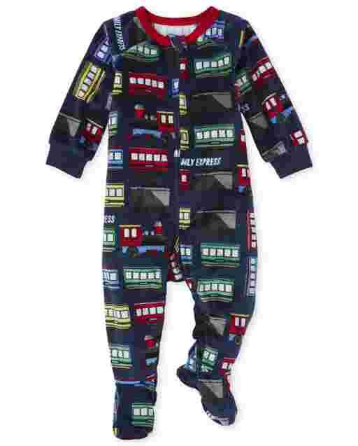 Pijamas de una pieza con estampado de trenes de manga larga para bebés y niños pequeños