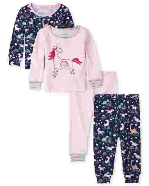 Pijama de algodón de 4 piezas con ajuste ceñido de unicornio de manga larga para bebés y niñas pequeñas