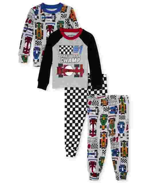 Baby And Toddler Boys Long Sleeve Race Car Snug Fit Cotton 4-Piece Pajamas