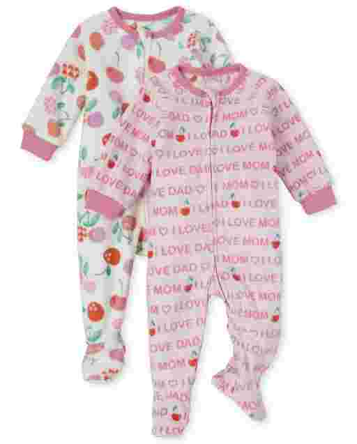 Baby And Toddler Girls Long Sleeve Family And Cherry Print Fleece Footed One Piece Pajamas 2-Pack