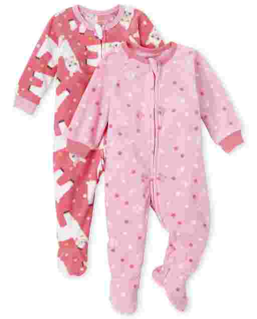 Baby And Toddler Girls Long Sleeve Llama And Dot Print Fleece Footed One Piece Pajamas 2-Pack