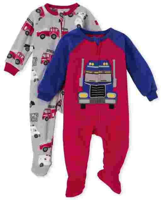 Paquete de 2 pijamas de una pieza con pie de vellón para bebés y niños pequeños, camión y ' Mom ' s Hero '