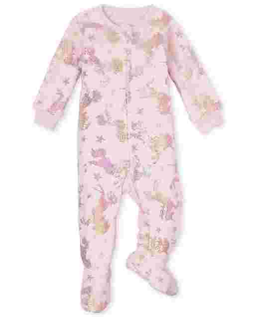 Baby And Toddler Girls Long Sleeve Foil Unicorn Print Fleece Footed One Piece Pajamas