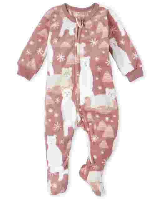 Baby And Toddler Girls Long Sleeve Polar Bear Print Fleece Footed One Piece Pajamas