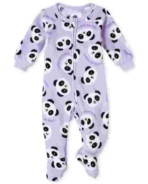 Baby And Toddler Girls Long Sleeve Panda Fleece Footed One Piece Pajamas
