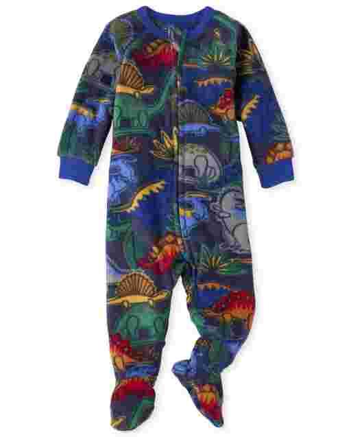Pijama de una pieza de felpa con estampado de dinosaurio de manga larga para bebés y niños pequeños