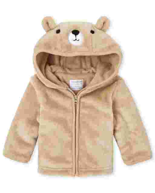 Baby Boys Long Sleeve Bear Faux Fur And Microfleece Lined Cozy Jacket