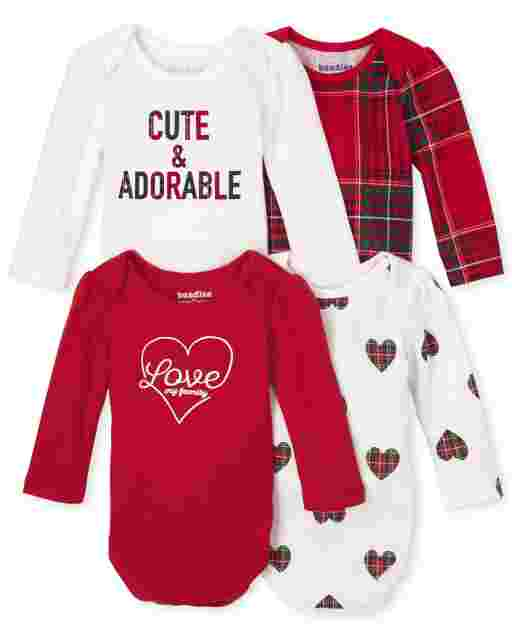 Baby Girls Long Sleeve Tartan Bodysuit 4-Pack