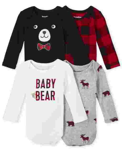 Baby Boys Long Sleeve Buffalo Plaid Bodysuit 4-Pack