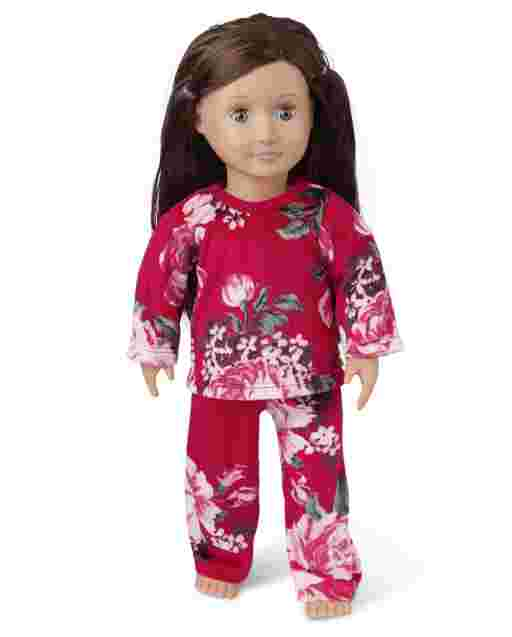 Doll Mommy And Me Long Sleeve Floral Print Velour Matching Pajamas
