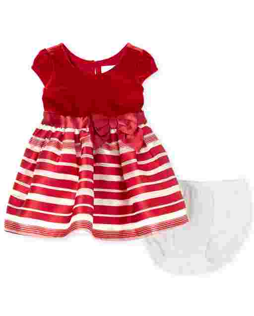 Baby Girls Sleeveless Velour Candy Cane Striped Knit To Woven Dress And Bloomers Set