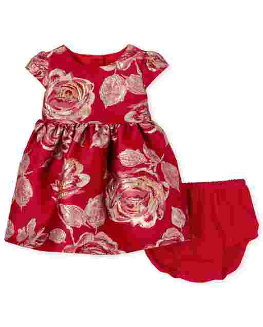 Baby Girls Short Sleeve Metallic Rose Print Woven Jacquard Pleated Matching Dress And Bloomers Set