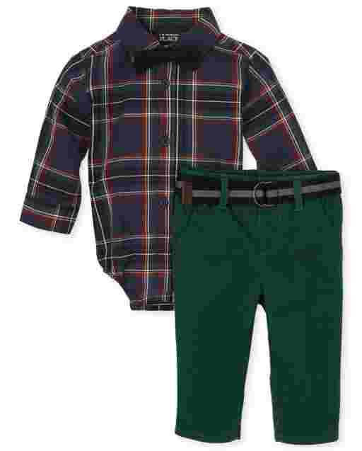 Baby Boys Matching Family Long Sleeve Plaid Poplin Bodysuit Twill Pants And Bow Tie Outfit Set