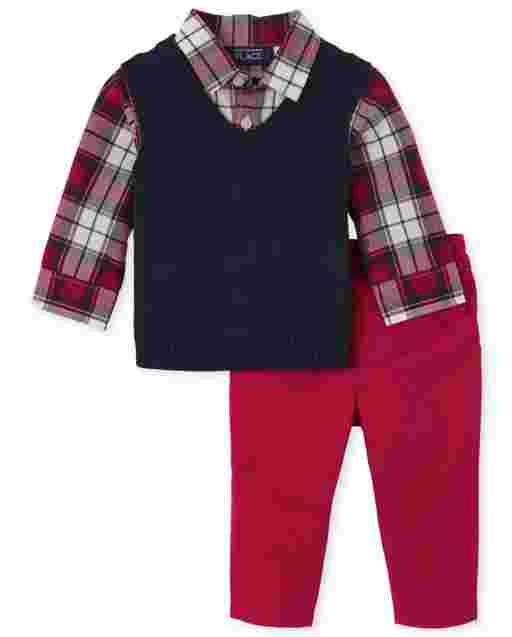 Baby Boys Long Sleeve Plaid Poplin 2 In 1 Sweater Vest And Twill Pants Outfit Set