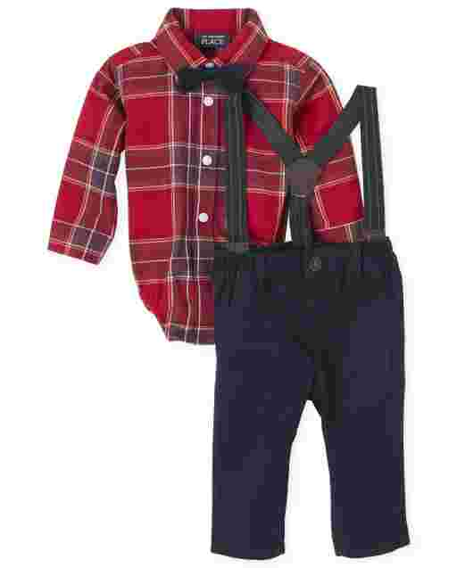 Baby Boys Matching Family Long Sleeve Plaid Poplin Bodysuit Twill Pants Suspenders And Bow Tie Outfit Set