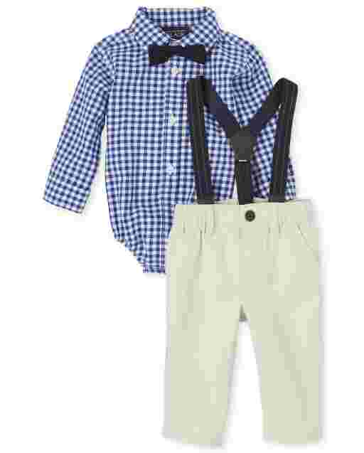 Baby Boys Long Sleeve Check Poplin Button Down Bodysuit Chino Pants And Suspenders Outfit Set