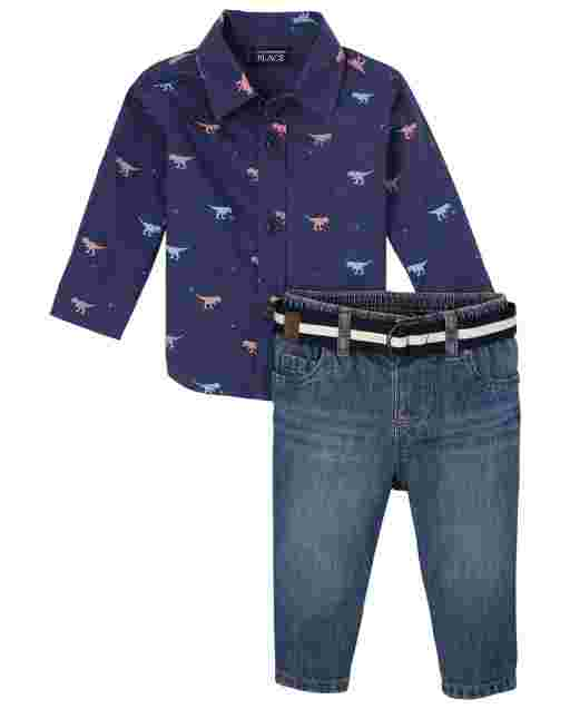 Baby Boys Long Sleeve Dino Poplin Button Down Shirt And Jeans Outfit Set