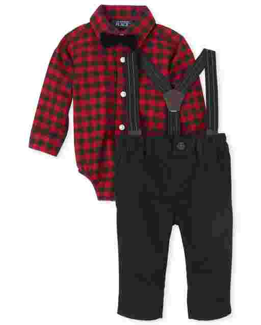 Baby Boys Matching Family Long Sleeve Buffalo Plaid Oxford Bodysuit Twill Pants Suspenders And Bow Tie Outfit Set