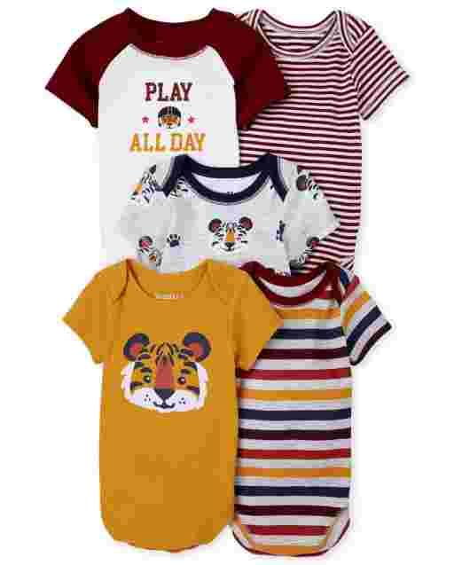 Baby Boys Short Sleeve Tiger Bodysuit 5-Pack