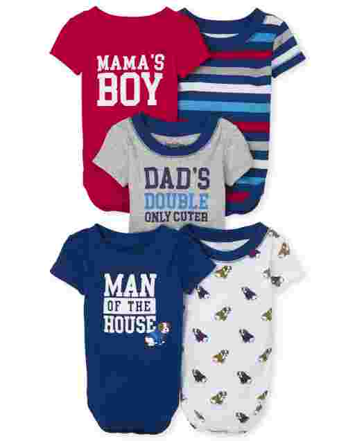 Baby Boys Short Sleeve Bulldog Bodysuit 5-Pack