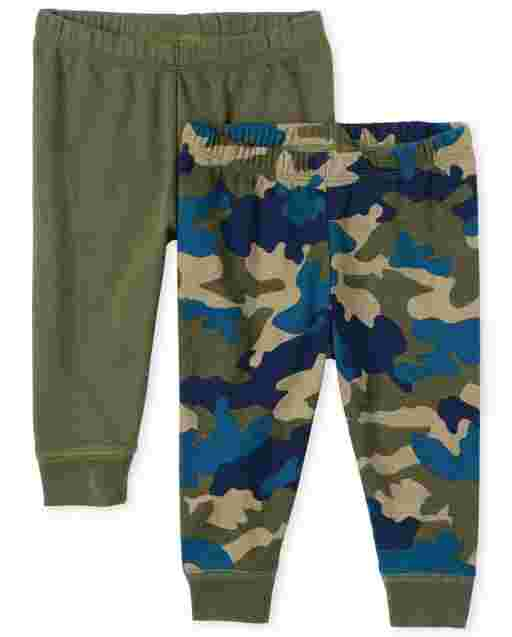 Baby Boys Camo And Solid Knit Pants 2-Pack