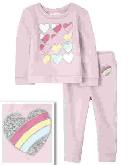 Toddler Girls Long Sleeve Rainbow Heart Sweatshirt And Knit Jogger Pants Outfit Set