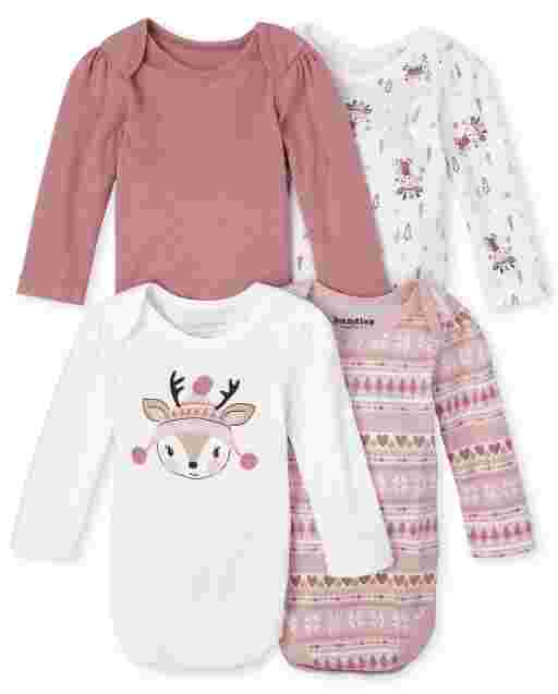 Baby Girls Long Sleeve Fairisle Deer Bodysuit 4-Pack