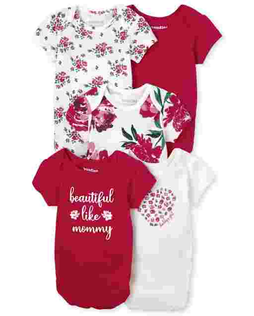 Baby Girls Short Sleeve Floral Bodysuit 5-Pack