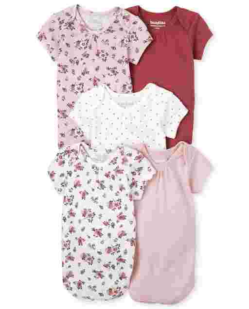 Baby Girls Short Sleeve Floral Essential Bodysuit 5-Pack