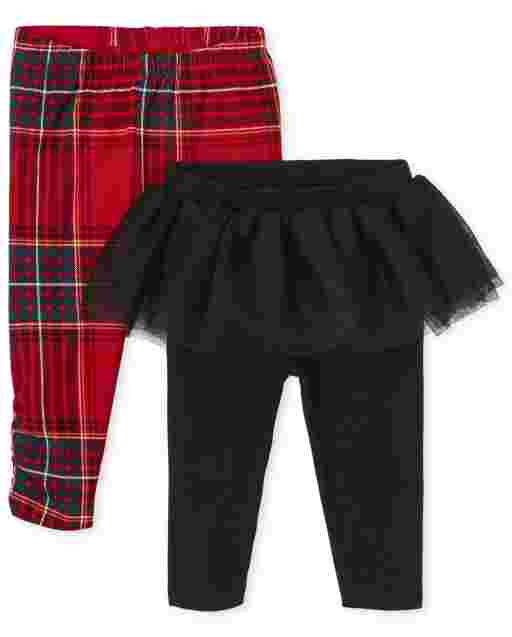 Baby Girls Tartan And Tutu Skirt Knit Pants 2-Pack
