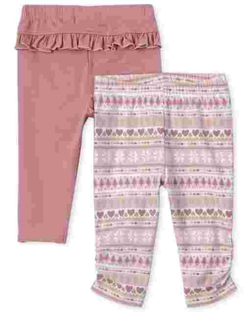 Baby Girls Fairisle And Ruffle Knit Pants 2-Pack