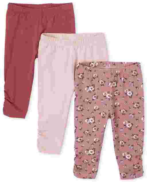 Baby Girls Floral And Solid Knit Essential Pants 3-Pack