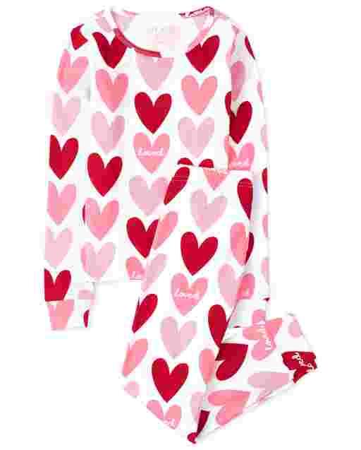 Girls Valentine's Day Long Sleeve Heart Print Snug Fit Cotton Pajamas