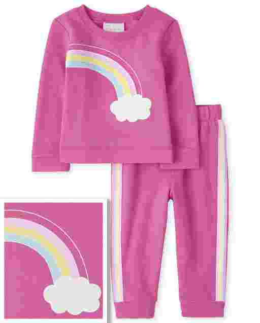 Toddler Girls Long Sleeve Rainbow Sweatshirt And Rainbow Side Stripe Knit Jogger Pants Outfit Set