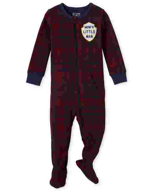 Pijama de una pieza de algodón con ajuste ceñido para bebés y niños pequeños, mamá ' s