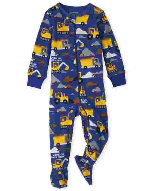 Pijama de una pieza de algodón con estampado de construcción de manga larga para bebés y niños pequeños