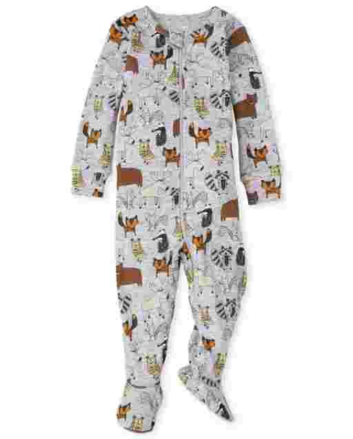 Pijama de una pieza de algodón con ajuste ceñido Woodland Critters para bebés y niños pequeños